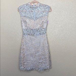 B. Darlin Lace Silver Gray Cutout Dress Sz 5/6